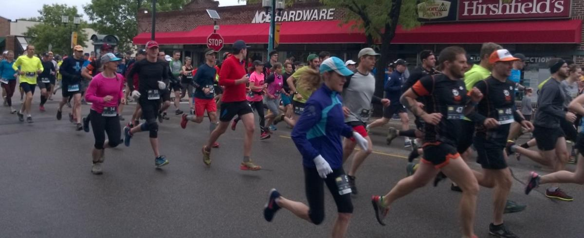 Runners in downtown Robbinsdale